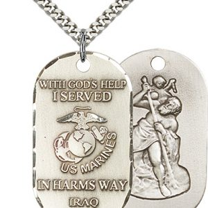 Sterling Silver Marines Iraq - St Christopher Pendan