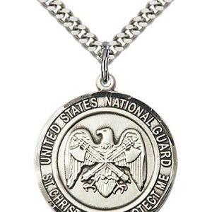 Sterling Silver National Guard - St. Christopher Pendant