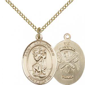 14kt Gold Filled St. Christopher - Nat'l Guard Pendant