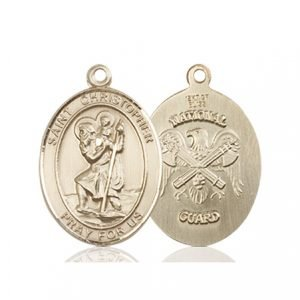 14kt Gold St. Christopher - Nat'l Guard Medal