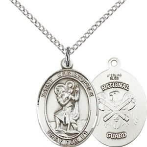 Sterling Silver St. Christopher - Nat'l Guard Pend
