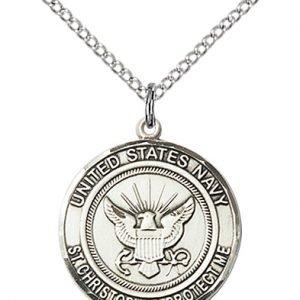 Sterling Silver Navy - St. Christopher Pendant