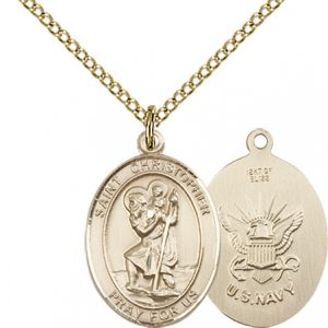 14kt Gold Filled St. Christopher - Navy Pendant
