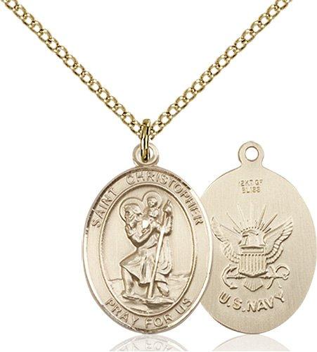 14kt Gold Filled St. Christopher - Navy Pendant