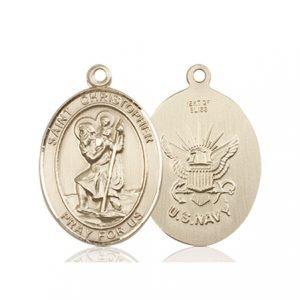 14kt Gold St. Christopher - Navy Medal