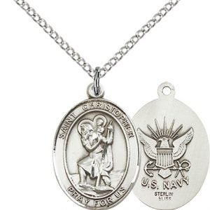 Sterling Silver St. Christopher - Navy Pendant
