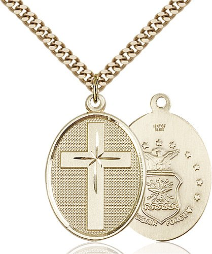 14kt Gold Filled Cross - Air Force Pendant