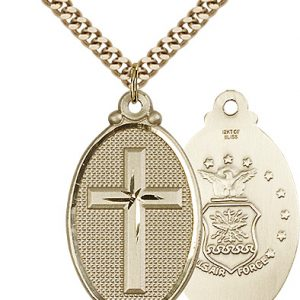 14kt Gold Filled Cross - Army Pendant