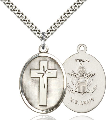 Sterling Silver Cross - Army Pendant