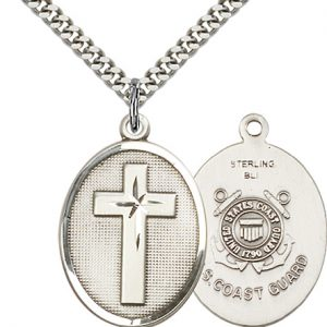 Sterling Silver Cross - Coast Guard Pendant