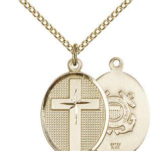 14kt Gold Filled Cross - Coast Guard Pendant