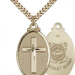 14kt Gold Filled Cross - Coast Guard Pendant