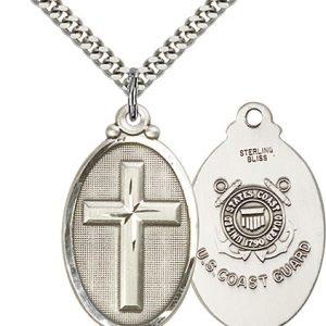 Sterling Silver Cross - Coast Guard Pendant