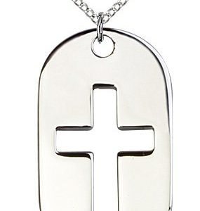 Sterling Silver Cross Dog Tag Necklace #86904
