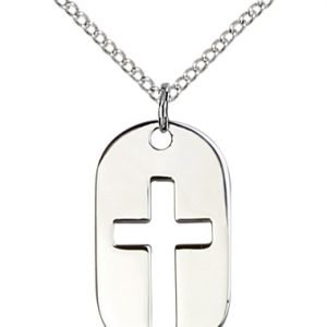 Sterling Silver Cross Dog Tag Necklace #86912