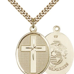 14kt Gold Filled Cross - Marines Pendant