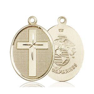 14kt Gold Cross - Marines Medal