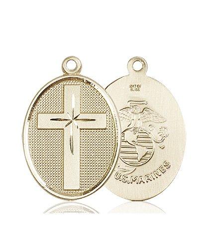 14kt Gold Cross - Marines Medal