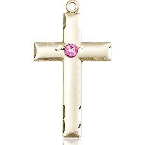 Cross Medal - October Birthstone - 14 KT Gold #88229