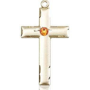 Cross Medal - November Birthstone - 14 KT Gold #88230
