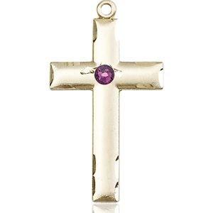 Cross Medal - February Birthstone - 14 KT Gold #88232