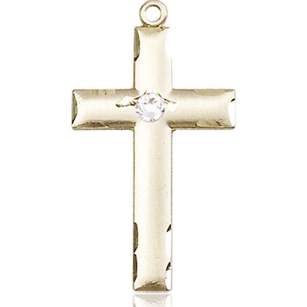 Cross Medal - April Birthstone - 14 KT Gold #88234