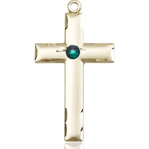 Cross Medal - May Birthstone - 14 KT Gold #88235