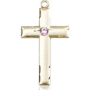 Cross Medal - June Birthstone - 14 KT Gold #88236