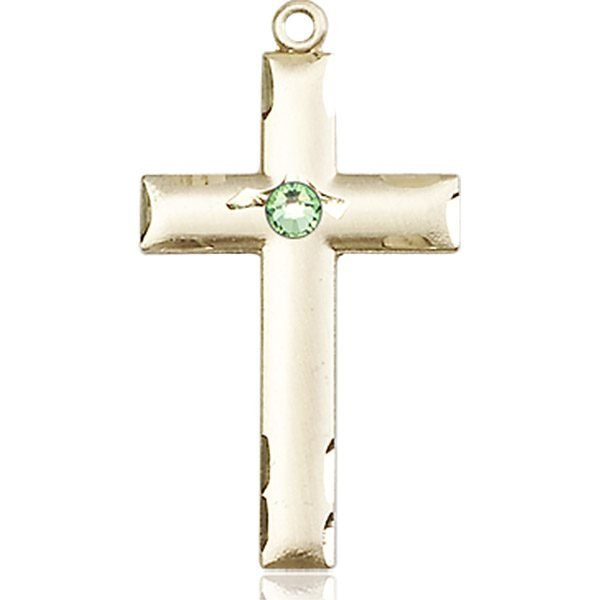 Cross Medal - August Birthstone - 14 KT Gold #88238