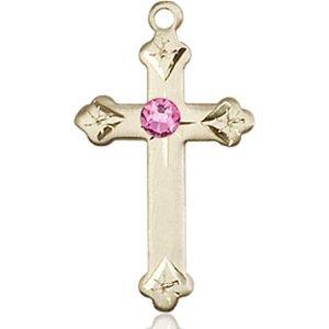 Cross Medal - October Birthstone - 14 KT Gold #88265