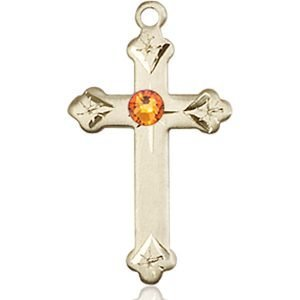 Cross Medal - November Birthstone - 14 KT Gold #88266