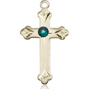 Cross Medal - May Birthstone - 14 KT Gold #88271