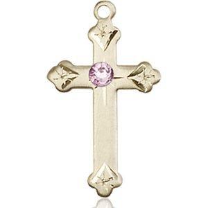Cross Medal - June Birthstone - 14 KT Gold #88272