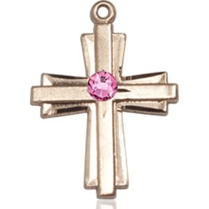 Cross Medal - October Birthstone - 14 KT Gold #88301