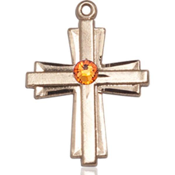 Cross Medal - November Birthstone - 14 KT Gold #88302
