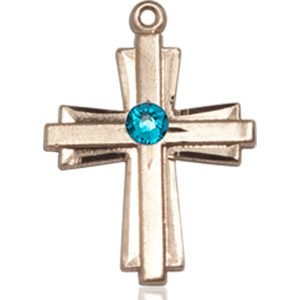 Cross Medal - December Birthstone - 14 KT Gold #88303