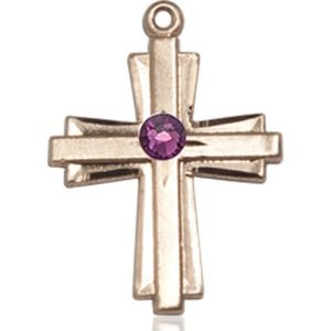 Cross Medal - February Birthstone - 14 KT Gold #88304