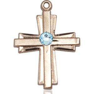 Cross Medal - March Birthstone - 14 KT Gold #88305