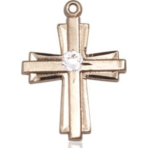 Cross Medal - April Birthstone - 14 KT Gold #88306
