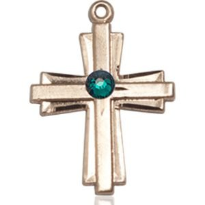 Cross Medal - May Birthstone - 14 KT Gold #88307