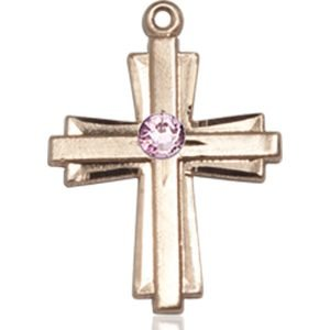 Cross Medal - June Birthstone - 14 KT Gold #88308
