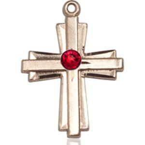 Cross Medal - July Birthstone - 14 KT Gold #88309