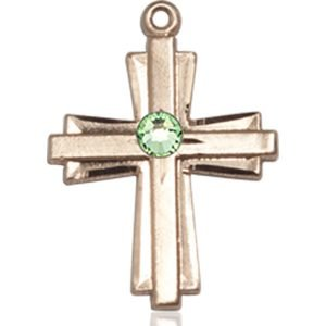 Cross Medal - August Birthstone - 14 KT Gold #88310