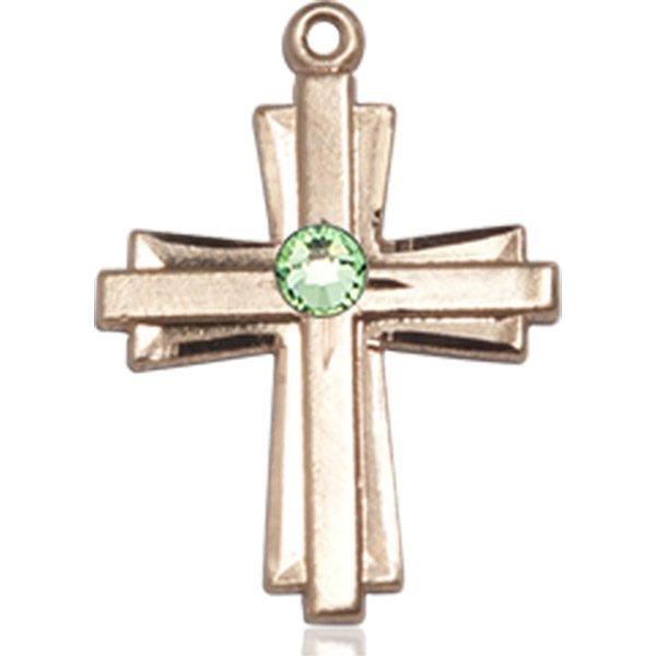 Cross Medal - August Birthstone - 14 KT Gold #88310