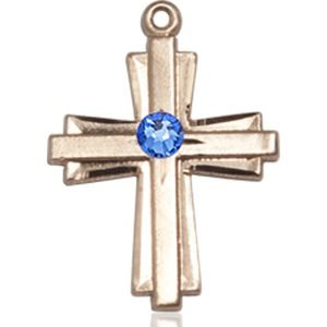 Cross Medal - September Birthstone - 14 KT Gold #88311