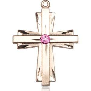 Cross Medal - October Birthstone - 14 KT Gold #88337