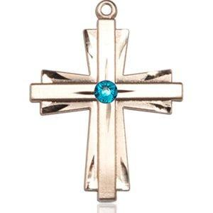 Cross Medal - December Birthstone - 14 KT Gold #88339