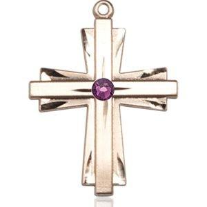Cross Medal - February Birthstone - 14 KT Gold #88340