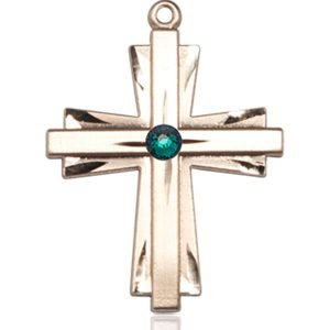 Cross Medal - May Birthstone - 14 KT Gold #88343