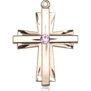 Cross Medal - June Birthstone - 14 KT Gold #88344